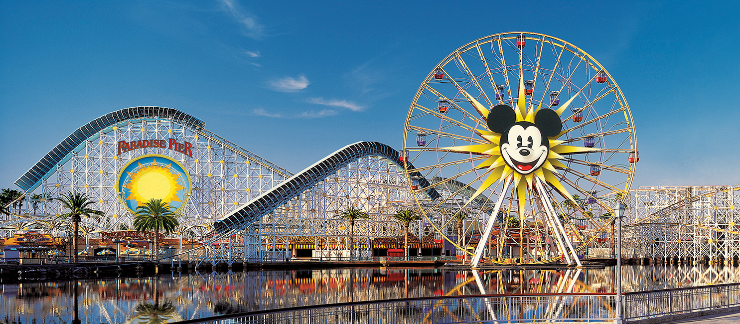 Paradise Pier Roller Coaster and Mickey Mouse Ferris Wheel in California Adventure
