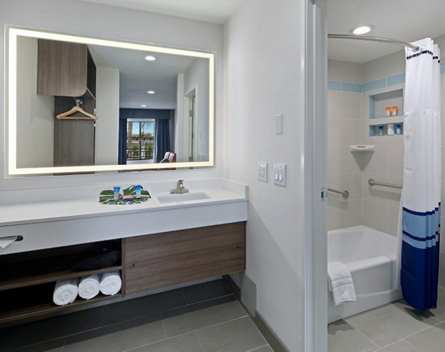 Bathroom Vanity with Shower and Tub with grab bars