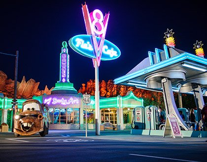 New Cars Land in Disneyland with Mater the tow truck character