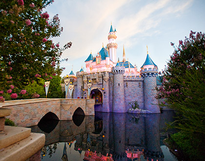 Disneyland Castle with water reflection