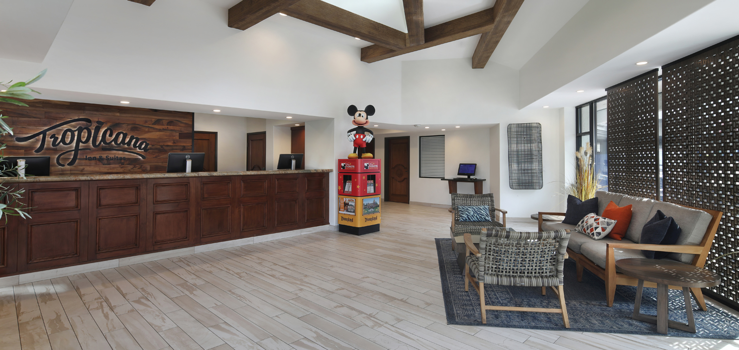 Newly renovated lobby at Tropicana Inn & Suites