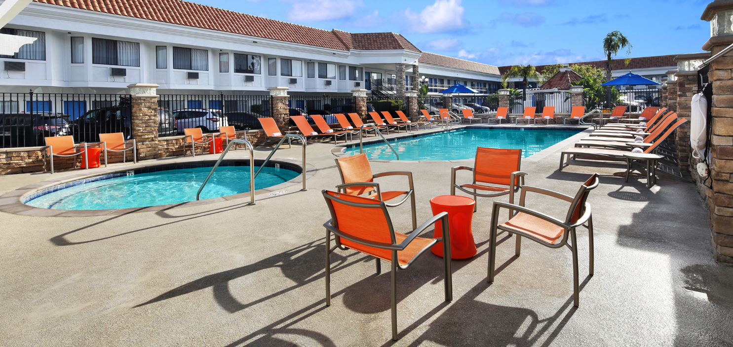 newly renovated swimming pool at Tropicana Inn & Suites
