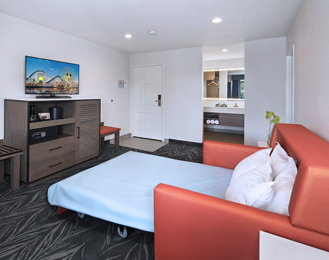 The Park View Suite features a full sofa bed and private bath at our hotel in Anaheim