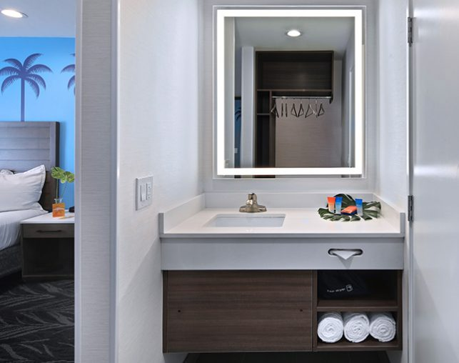 Bathroom Vanity with partial view of Deluxe King Suite