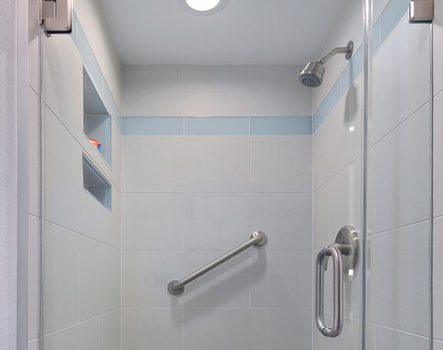 The Park View Suite includes a tiled walk in shower