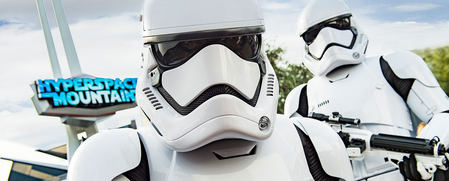 Storm Troopers in front of Hyperspace Mountain ride