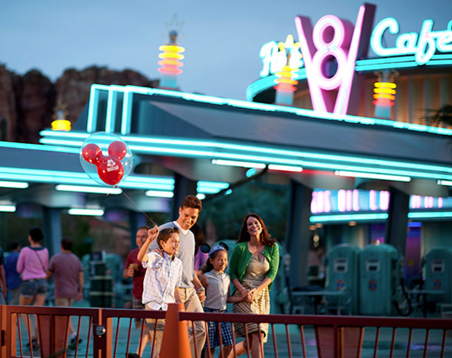 Family walking through California Adventure Park