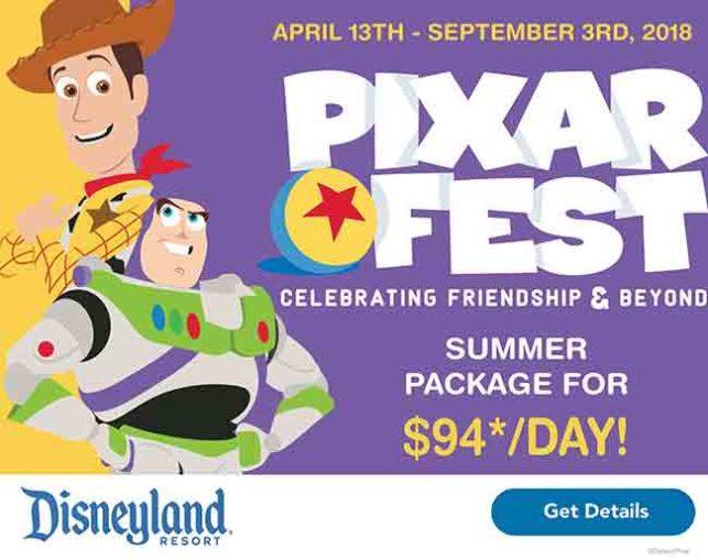 Disney graphic containing Woody & Buzz promoting Pixar Fest 2018.