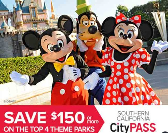A poster advertising the City pass for residents of California with Mickey, Minnie and Goofy