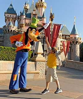 Goofy and Young Boy High Five in front of Disney® Castle