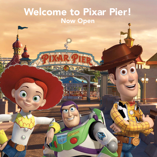 image of woody, buzz and jessie from Toy Story advertising Pixar Pier