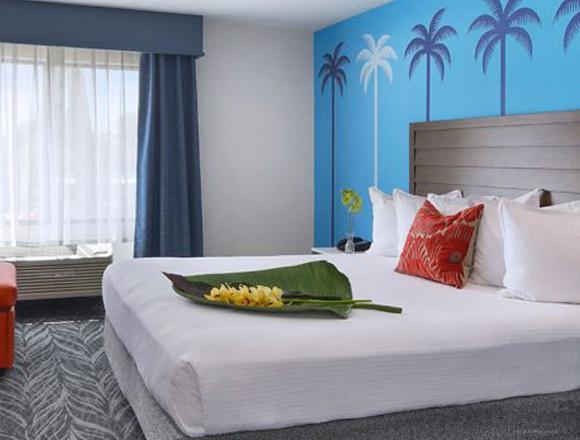 king bedroom at tropicana inn & suites