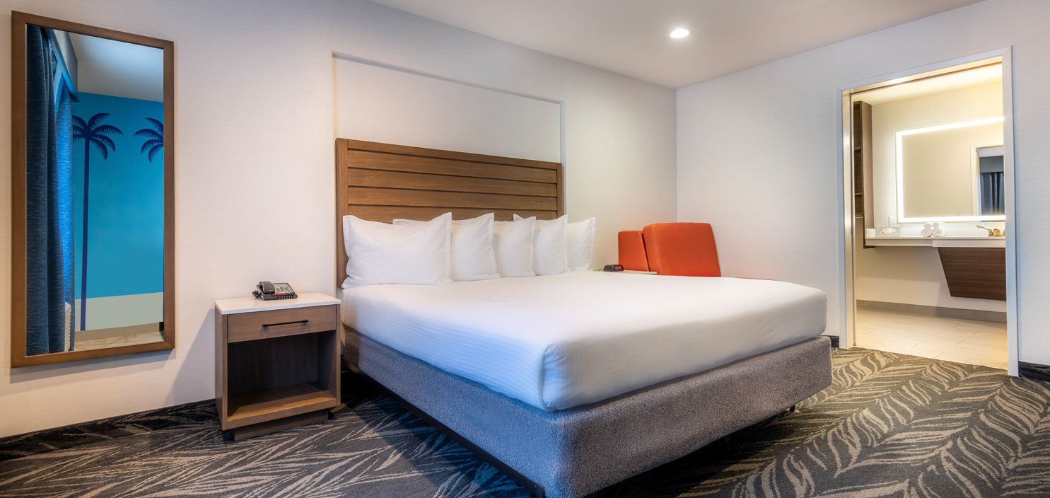 bed in ada king room with roll in shower